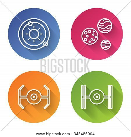 Set Line Solar System, Planet, Cosmic Ship And Cosmic Ship. Color Circle Button. Vector