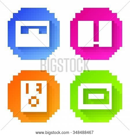 Set Line Piano, Stereo Speaker, Stereo Speaker And Guitar Amplifier. Color Circle Button. Vector