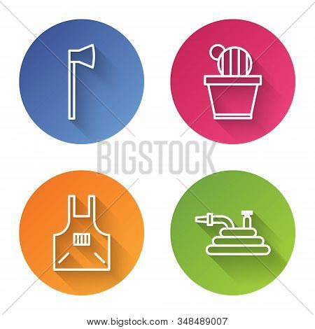 Set Line Wooden Axe, Cactus And Succulent In Pot, Kitchen Apron And Garden Hose Or Fire Hose. Color