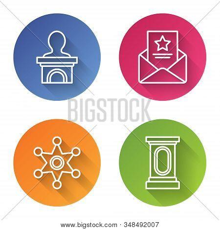 Set Line Stage Stand Or Debate Podium Rostrum, The Arrest Warrant, Hexagram Sheriff And Stage Stand