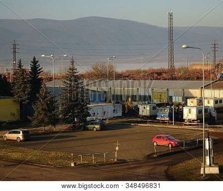 Ervenice, Czech Republic - January 21, 2020: Parking Place With Cars In Industrial Areal Under Ore M