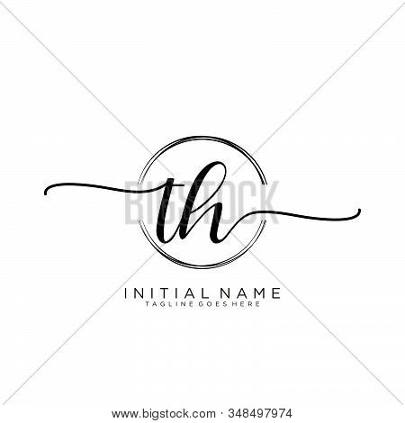Th Initial Handwriting Logo With Circle Template Vector.