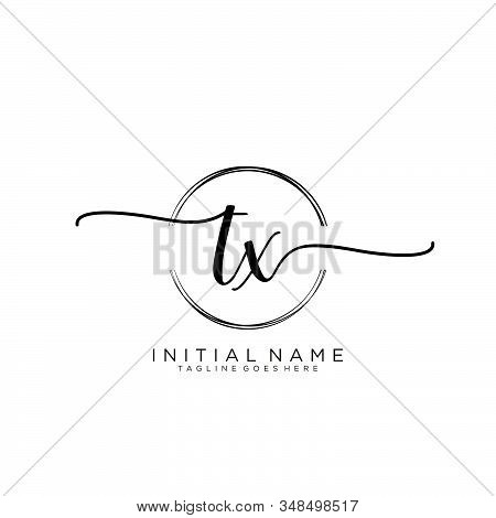 Tx Initial Handwriting Logo With Circle Template Vector.