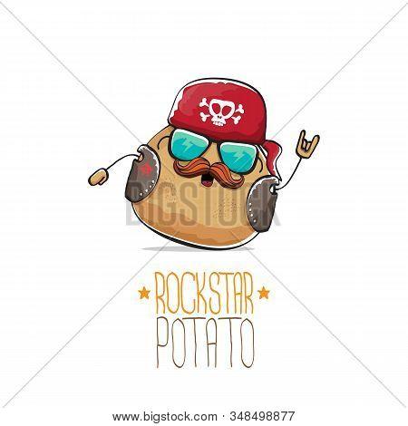 Vector Rock Star Potato Funny Cartoon Cute Character With Bandana, Leather Jacket, Sunglasses And Mo