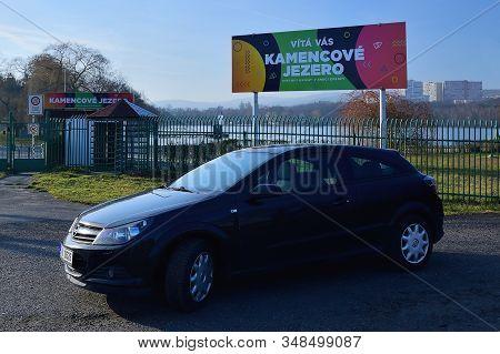 Chomutov, Czech Republic - January 21, 2020: Black Car Opel Astra H In Front Of Kamencove Jezero Lak
