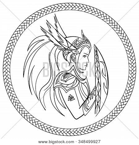 Contour Valkyrie, Scandinavian Woman Warrior, With Shield In Ornamented Circle