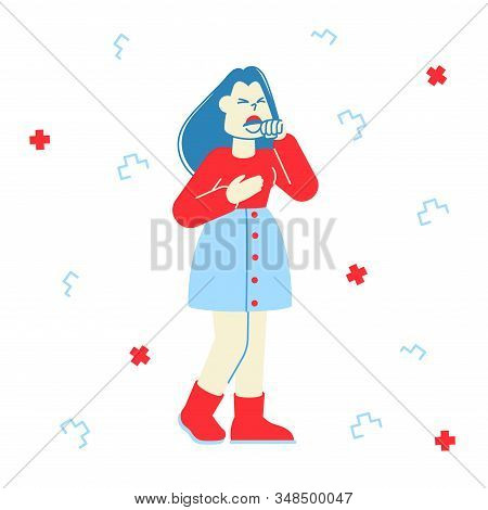 Flu And Sickness Concept. Diseased Woman Coughing. Female Character Got Virus Infection, Having Cold