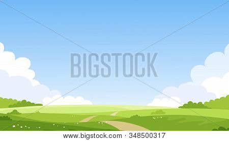 Sunny Spring Or Summer Landscape, Road, Meadows, Sky With Clouds. Green Farm Banner, Concept Of Cari