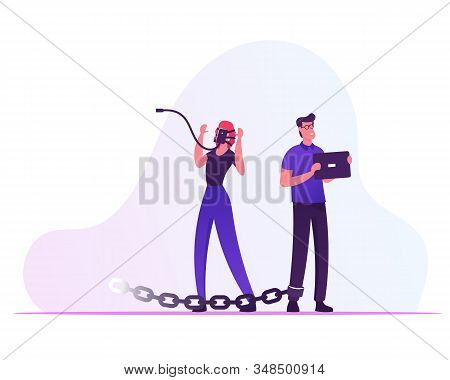 Internet And Social Network Addiction Concept. Young Woman Stand With Smartphone On Face, Man With T