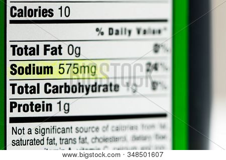 Highlight Of High Sodium Content In Nutrition Facts Label