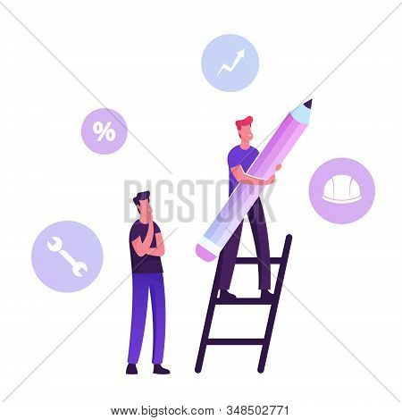 User Manual Tutorial Concept. Man Stand On Ladder With Huge Pencil And Customer Support Icons Around