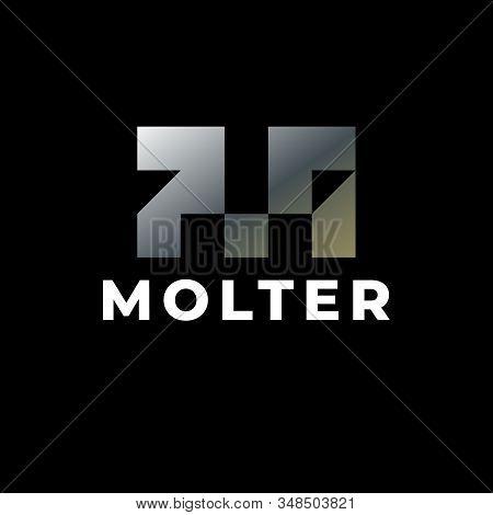 Letter Mark M Logo Design. Abstract Letter Mark M Logo. Silver Steel Letter Mark M Logo. Logo Design