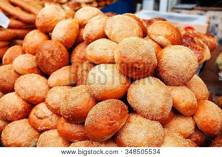 Small Round Buns With Sesame Seeds At The Mahane Yehuda Market In Jerusalem, Israel