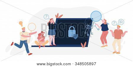 Password And Information Defend Concept. Users At Huge Laptop With Padlock And Shield On Screen Suff