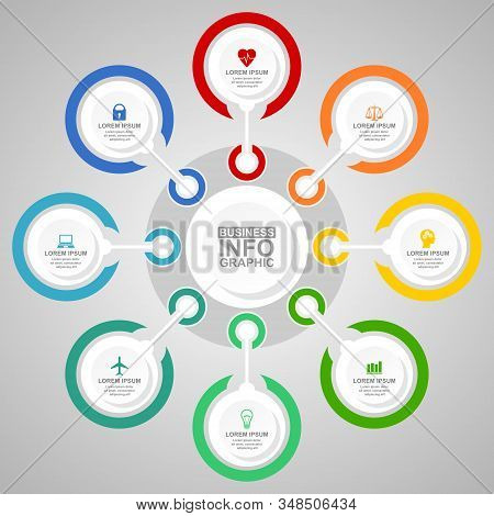 Business Infographic Vector Template, Transport, Health Care And Technology Concept Illustration For