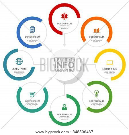 Business, Health Care And Technology Diagram, Flat Design Circular Infographic Template, Web Present