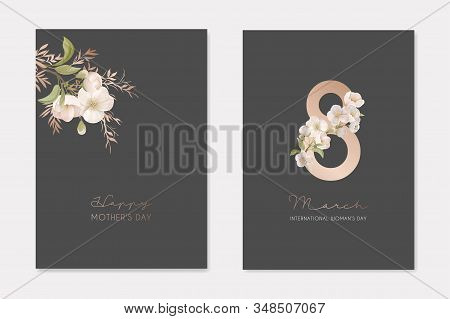 Romantic Trendy Greeting Cards Set For Happy Womans Day 8 March Holiday. White Cherry Sakura Flowers