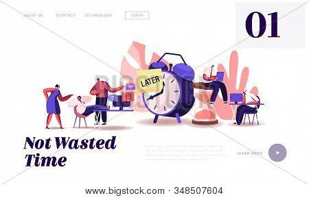 Procrastination At Work Website Landing Page. Procrastinating Lazy Businesspeople Employees Sleeping
