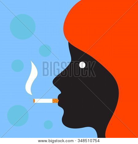 Profile Of Woman With Cigarette In Flat Style. Vector Character Illustration. Men Healthcare Concept