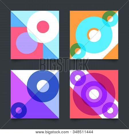 Simple Geometric Patterns, Bauhaus Background With Circles And Triangles. Vector Illustration