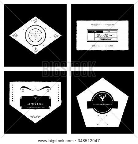 Retro Vintage Insignias Or Logotypes Set With Floral Elements And Ribbons. Vector Design Elements, B
