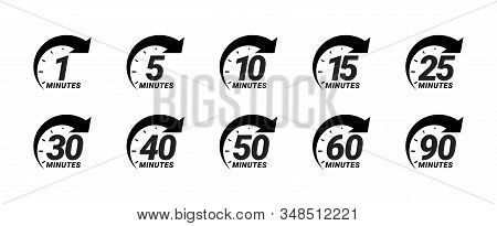 Minute Timer Icons Set. One Minute, Five, Ten, Fifteen Or More Minutes. The Arrow Shows The Limited