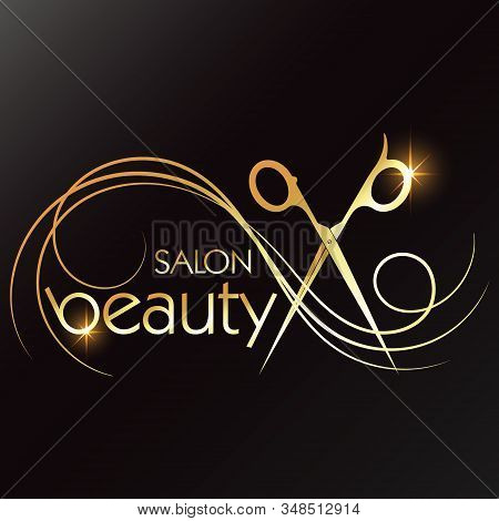 Gold Scissors And Curls Of Hair For A Beauty Salon