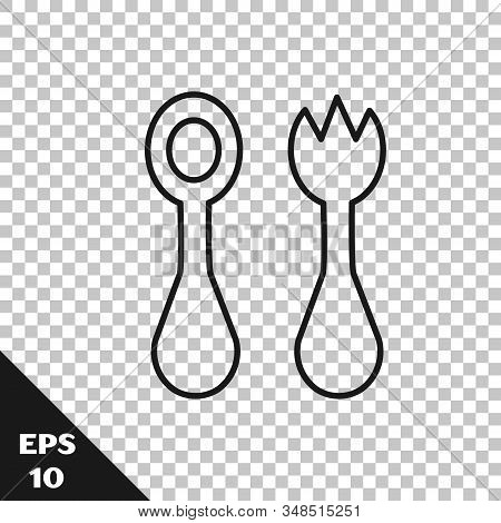 Black Line Baby Plastic Cutlery With Fork And Spoon Icon Isolated On Transparent Background. Cutlery