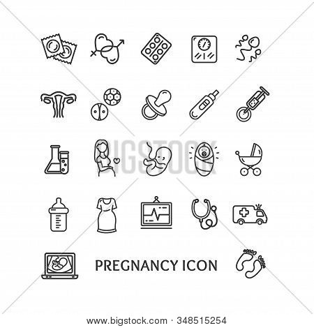 Pregnance Sign Black Thin Line Icon Set Include Of Bottle, Embryo, Uterus, Stethoscope And Stroller.