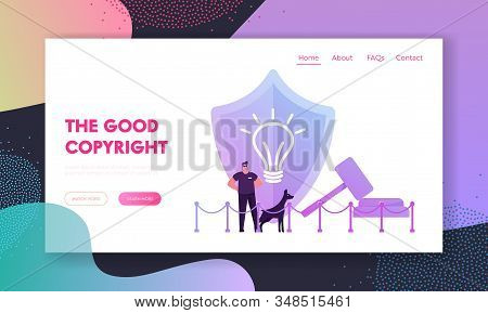 Patent Law And Authorship Website Landing Page. Security Man With Doberman Dog At Huge Shield With I