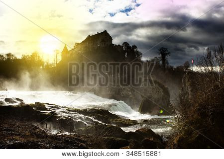 Fotografie - Grafik - Webdesign Rheinfall Is A Waterfall In Switzerland. River And Waterfall With Bl