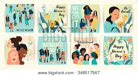 Vector Set Of Illustrations With Abstract Women With Different Skin Colors. International Womens Day