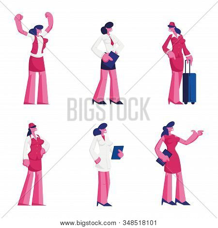 Set Female Characters Of Different Professions Wearing Uniform. Air Hostess, Waiter Doctor In White