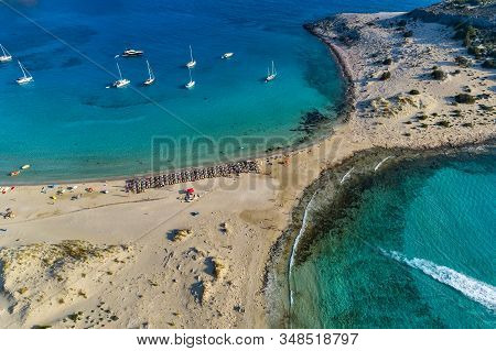 Aerial View Of Simos Beach In Elafonisos Island In Greece.