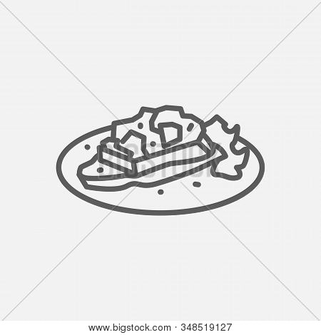 Bruschetta Icon Line Symbol. Isolated Vector Illustration Of Icon Sign Concept For Your Web Site Mob