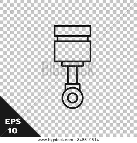 Black Line Engine Piston Icon Isolated On Transparent Background. Car Engine Piston Sign. Vector Ill