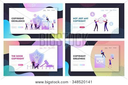 Invention Or Idea Copyright Protection Website Landing Page Set. Security Stand Near Huge Shield Wit