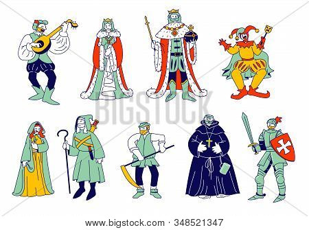 Set Of Medieval Historical Characters. Royal Queen And King, Monk Bard Singer Knight, Peasant In His
