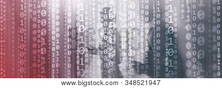 Digital Binare Code On Data Center Background. Technology Panoramic Wallpaper For Your Business.