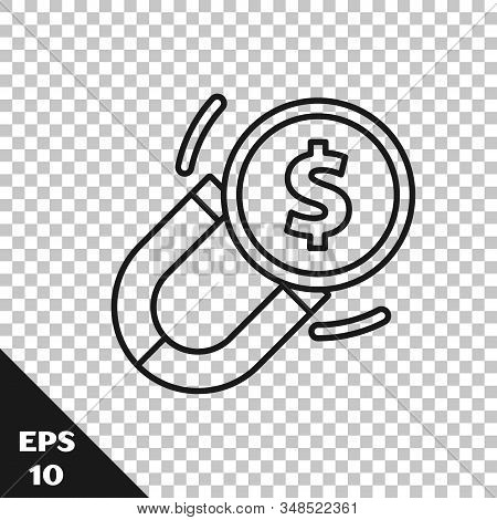 Black Line Magnet With Money Icon Isolated On Transparent Background. Concept Of Attracting Investme