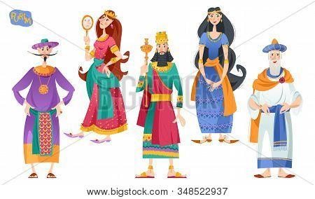 Purim. Jewish Holiday. Book Of Esther Characters And Heroes: Achashveirosh, Mordechai, Esther, Haman