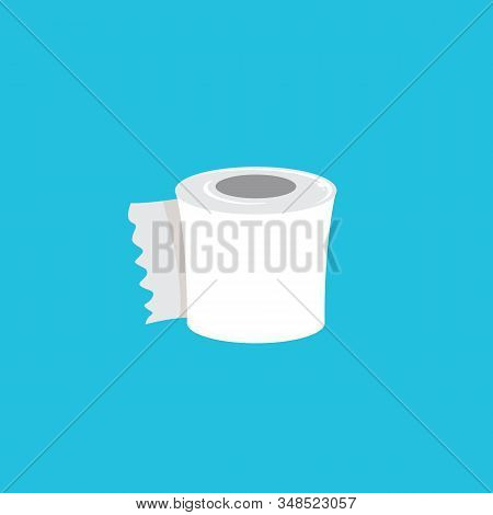 Toilet Paper Isolated On Blue Background. Vector White Toilet Paper Roll Sign Or Icon