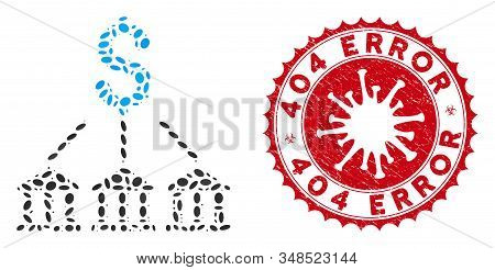 Mosaic Bank Association Icon And Red Round Rubber Stamp Seal With 404 Error Phrase And Coronavirus S