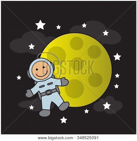 Cute Baby Astronaut In A Spacesuit Flies And Smiles Against The Backdrop Of The Moon And Stars