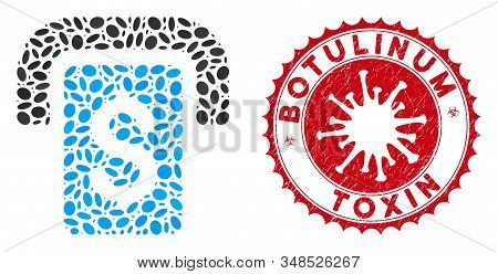 Mosaic Cashpoint Icon And Red Round Distressed Stamp Watermark With Botulinum Toxin Caption And Coro