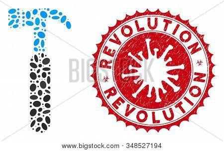 Mosaic Claw Hammer Icon And Red Rounded Distressed Stamp Seal With Revolution Caption And Coronaviru
