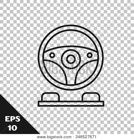 Black Line Racing Simulator Cockpit Icon Isolated On Transparent Background. Gaming Accessory. Gadge