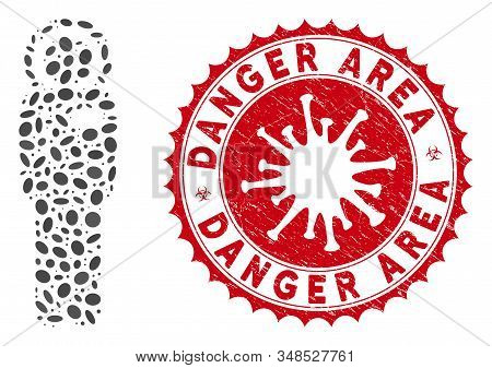 Mosaic Cosmonaut Icon And Red Round Rubber Stamp Seal With Danger Area Caption And Coronavirus Symbo