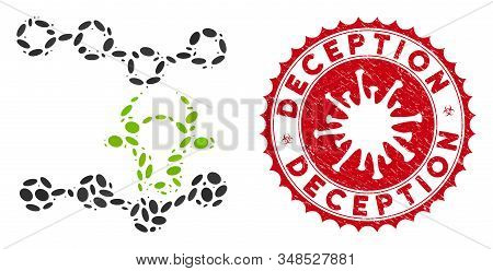 Mosaic Cow Trends Icon And Red Round Rubber Stamp Seal With Deception Text And Coronavirus Symbol. M