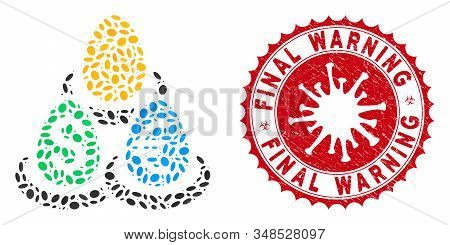 Mosaic Currency Deposit Diversification Icon And Red Rounded Grunge Stamp Seal With Final Warning Te